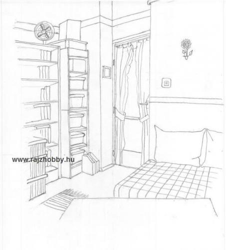 Perspektivikus rajz, szoba